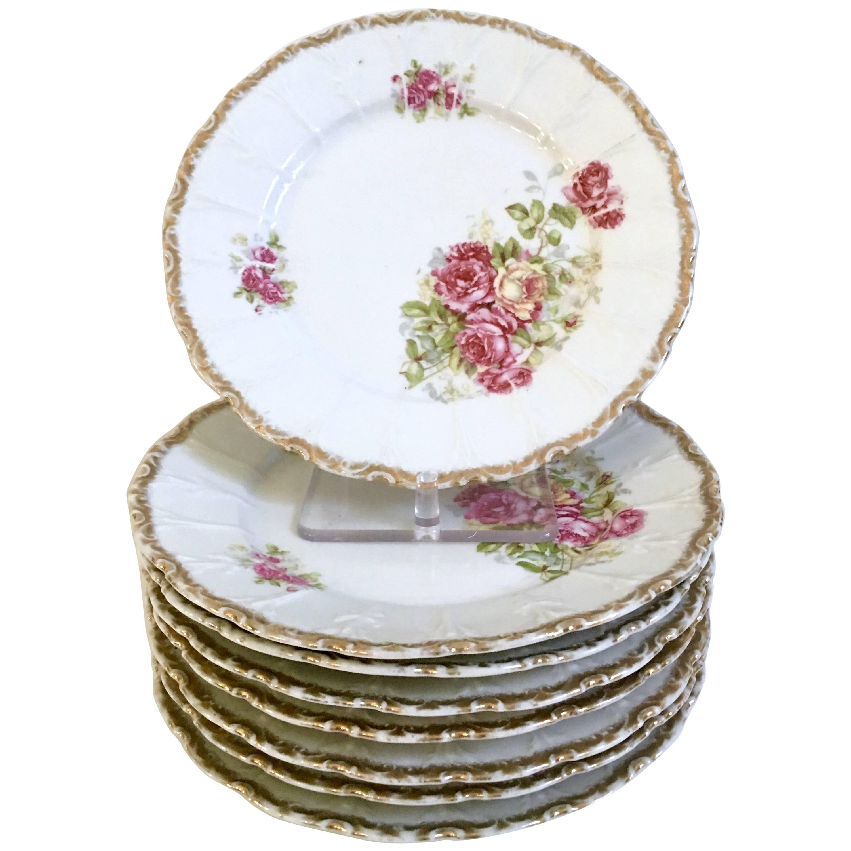 Antique German Hand-Painted Porcelain u0026 Gold Gilt  Rose  Dinner Plates ...  sc 1 st  1stDibs & Antique German Hand-Painted Porcelain and Gold Gilt