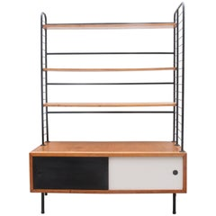 Midcentury Modern 1950s Bookcase, Modular Shelves in Style of Pierre Guariche