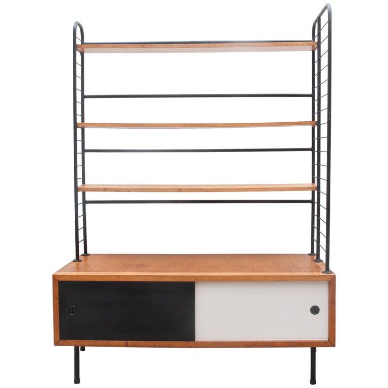 Midcentury Modern 1950s Bookcase, Modular Shelves in Style of Pierre Guariche For Sale