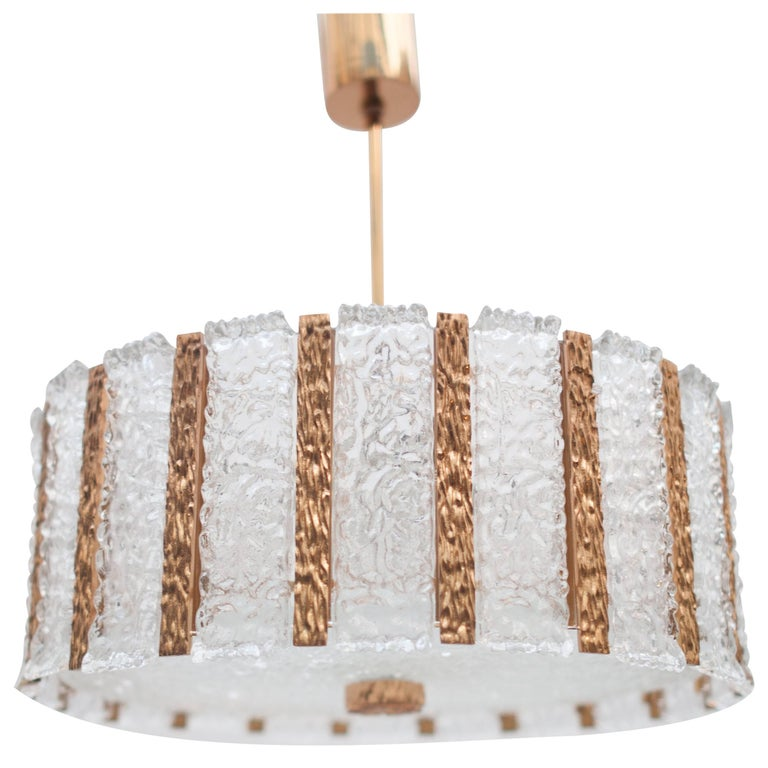 Large Kalmar Ice Glass and Brass Chandelier