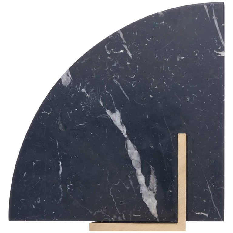 Curvy Bookend in Nero Marquina Marble