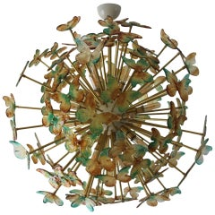 Sputnik Chandelier with Yellow and Green Glass Butterflies