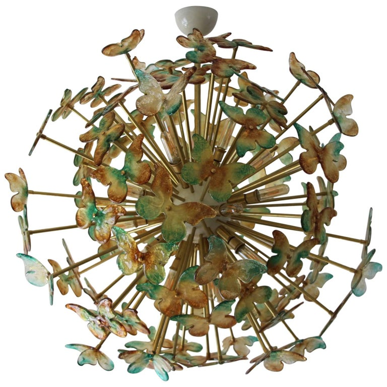 Sputnik Chandelier with Yellow and Green Glass Butterflies For Sale