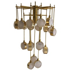 Italian Mid-Century Modern Brass and Glass Long Chandelier