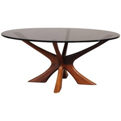 Round Rosewood and Glass Coffee Table by Illum Wikkelso, 1960s