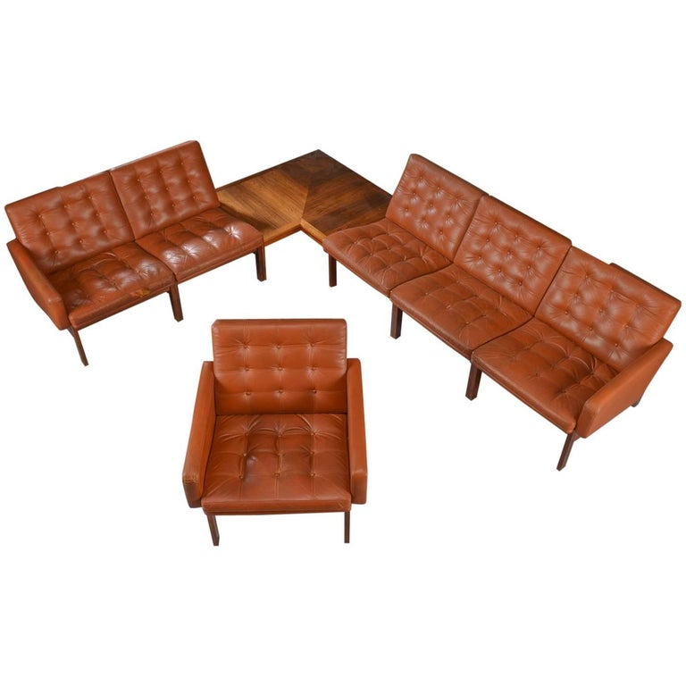 Danish Rosewood and Leather Corner Sofa with Armchair and Table