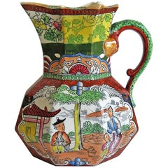 Masons Ironstone Jug or Pitcher Red Scale Conversation Group Pattern, circa 1835