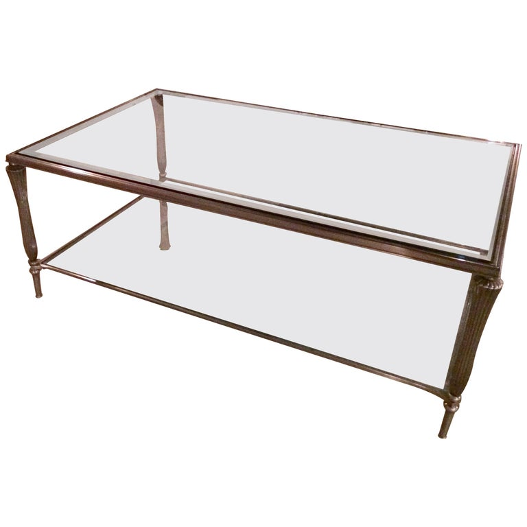 Handsome Silver Metal and Gleaming Glass Two-Tier Coffee Table