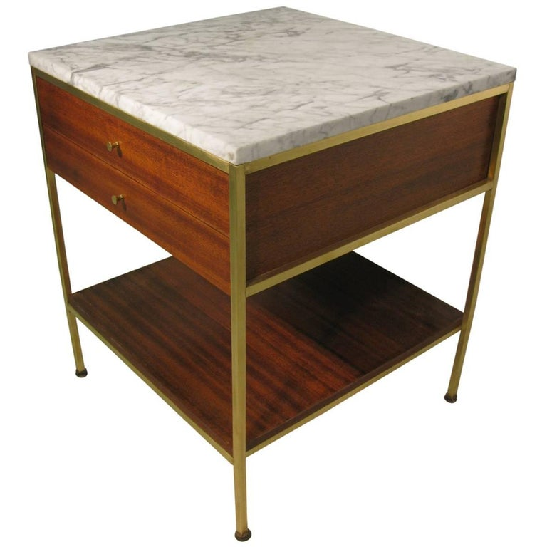 Mid-Century Modern Paul McCobb Marble and Brass Mahogany Night Table for Calvin