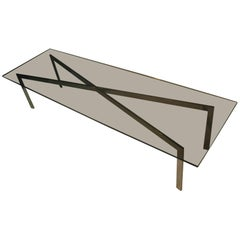 Mid-Century Modern Architectural Smoked Glass Cocktail Table