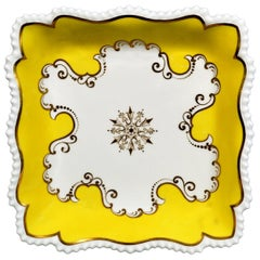 Flight, Barr & Barr Worcester Yellow Ground Square Porcelain Dishes, circa 1820