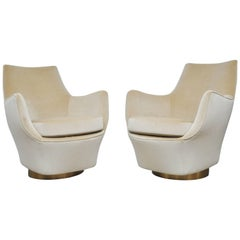 Milo Baughman Swivel Pod Chairs on Brushed Brass Bases
