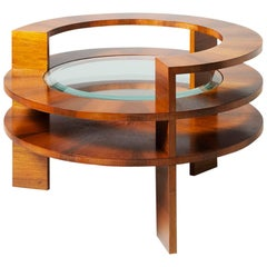 "Coffee Table Made of Italian Walnut ""Piumaccio"" with Shellac, Bevelled Glass Top"