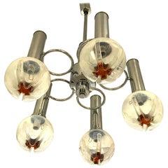 Mazzega mid-century Murano Chandelier glass Globes Handblown italian, 1970