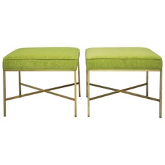 Pair of Brass X-Base Stools by Paul McCobb