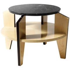 Coffee Table in Macassar Ebony and Maple Wood Finished Top Marquina Black Marble