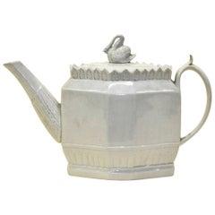 Early 1800 English Octagonal Lead-Glazed Earthenware Teapot with Swan Finial