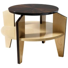 Coffee Table Macassar Ebony & Maple Wood Finished and Hand-Brushed Made in Italy