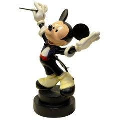 1980s Rare Walt Disney Mickey Mouse Conductor Statue in Fiberglass