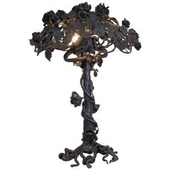 Art Nouveau Wrought Iron Rose Tree Table Lamp
