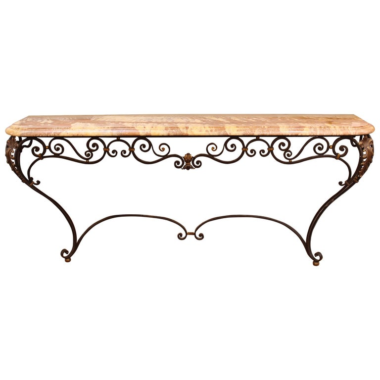 Neoclassical Style Wrought Iron and Marble Sideboard