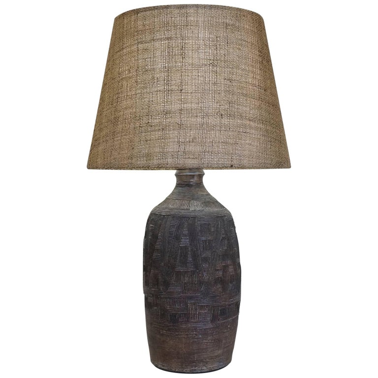 Mid-20th Century Brown Scarified Ceramic Table Lamp