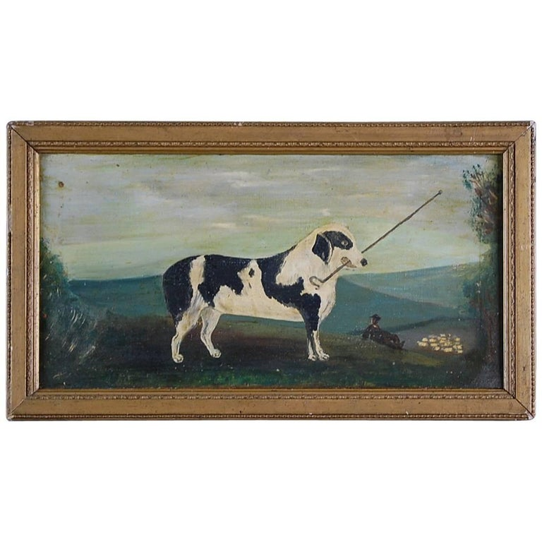 Naive Sheepdog Oil Painting on Canvas