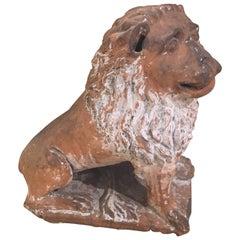 Italian Terracotta Painted Lion