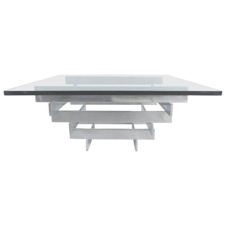 Paul Mayen Aluminium and Glass Coffee Table for Habitat