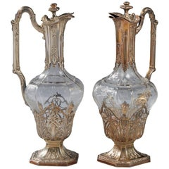 Pair of French Vermeil Silver Mounted and Crystal Claret Jugs