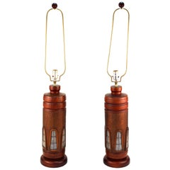 Mid-Century Modern Table Lamps in Walnut, Copper and Glass