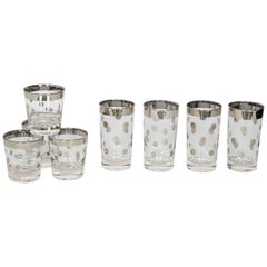 Set of Eight Dorothy Thorpe Barware Glasses with Polka Dot Design
