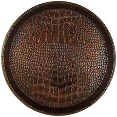 English Art Deco Snakeskin Copper Serving Tray from Joseph Sankey & Sons