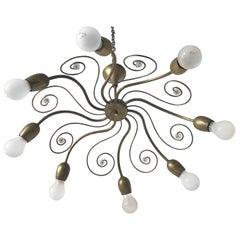 Eight-Armed Sputnik Chandelier Pendant Lamp Swirl, J. & L. Lobmeyr Vienna, 1950s