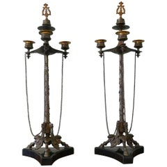 Pair of 19th Century Louis Philippe French Bronze Candelabra with Snuffers