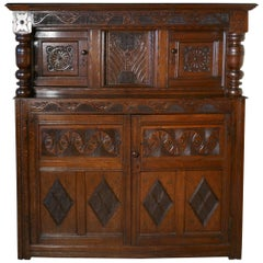 17th Century Carved Oak Court Cupboard, Primitive Celtic Carving
