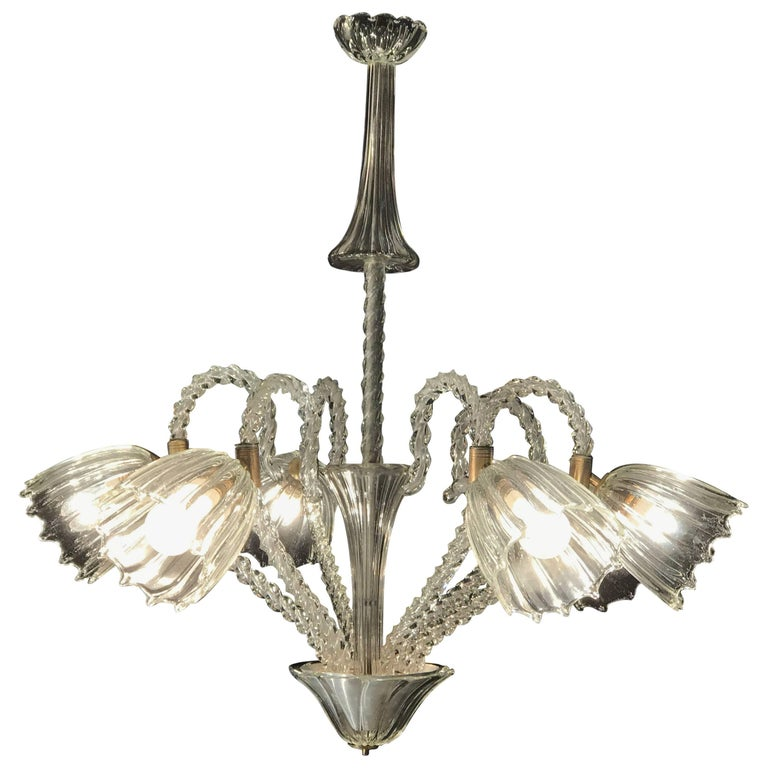 Lovely Six-Light Murano Glass Chandelier by Barovier & Toso
