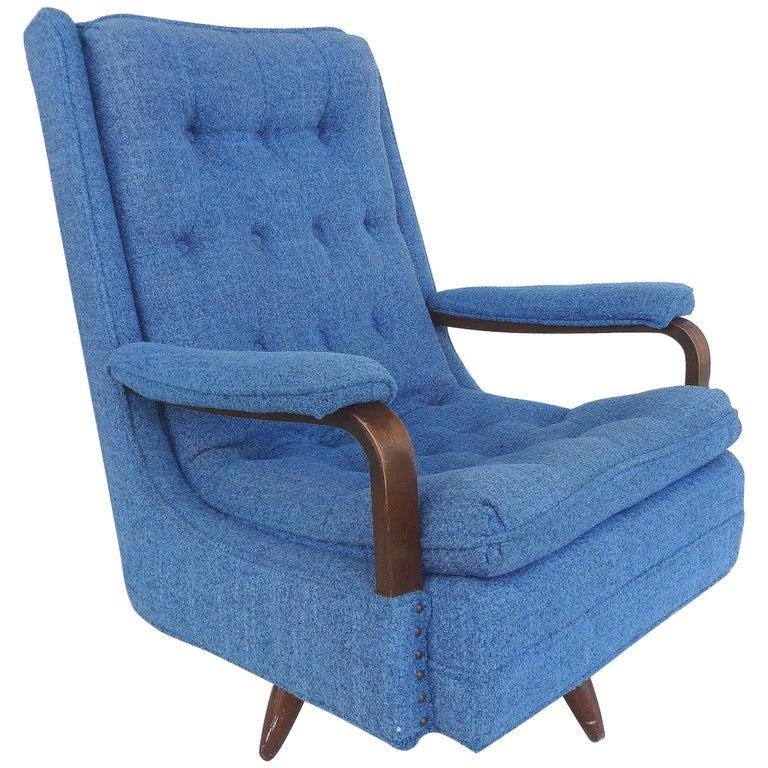 Mid-Century Modern High-Back Rocking Swivel Club Chair