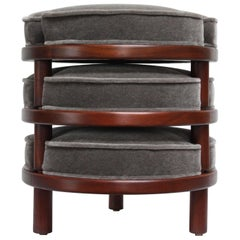 Harvey Probber-Style Mahogany and Mohair Stacking Ottomans or Footstools