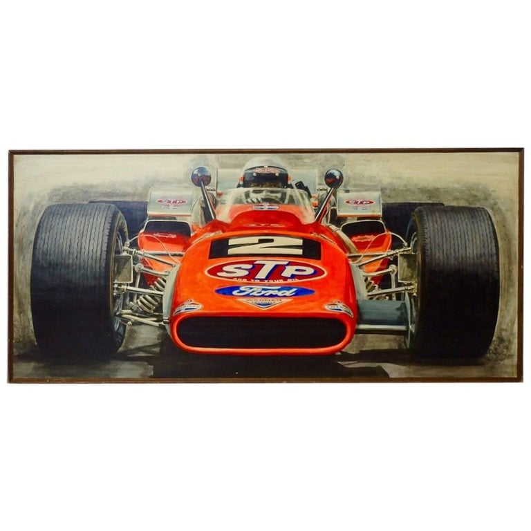 Large Oil on Board Painting Mario Andretti 1969 Indianapolis 500 Winner For Sale