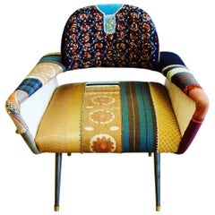 Bokja Couture Armchair, Multicolored Embroidered Fabric, Mid-Century Modern