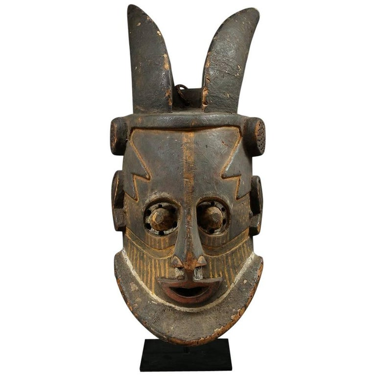 Kuba Tribal Helmet Mask with Horns, Democratic Republic of Congo