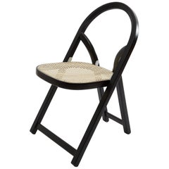 Gigi Sabadin Crassevig Arca Folding Chair in Black Wood and Natural Rattan, 1974