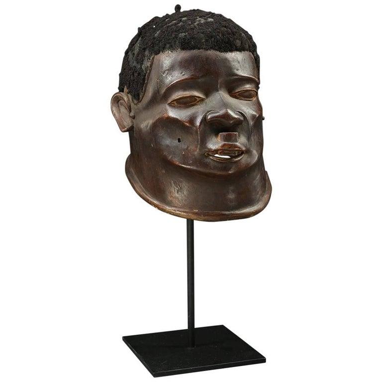 Expressive Tribal Makonde Helmet Mask, with Lip Plug and Hair, Tanzania
