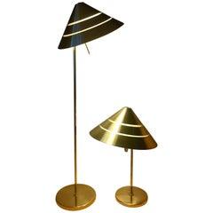 Rare Pair of Brass Floor and Table Lamp Hans Agne Jakobsson, 1960, G222/B298