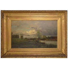 Charles Joseph Beauverie, Barbizon School Riverscape with a Fisherman