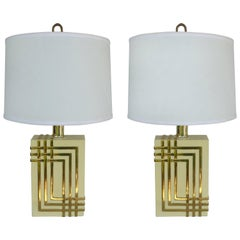Mid-Century Modern Brass Table Lamps with Drum Shades