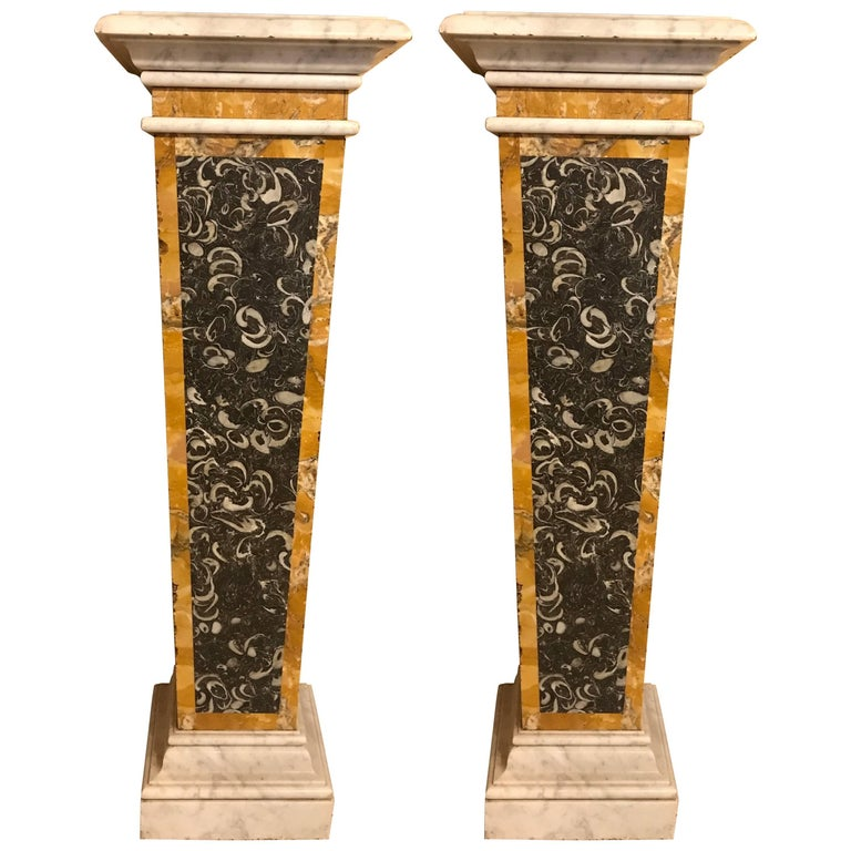 Stunning Pair of Italian Neoclassical Inlaid Marble Bases or Pedestals