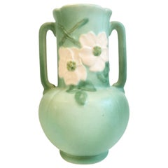 Midcentury Art Nouveau Hand-Painted Two-Handle Pottery Vase by, Weller Pottery