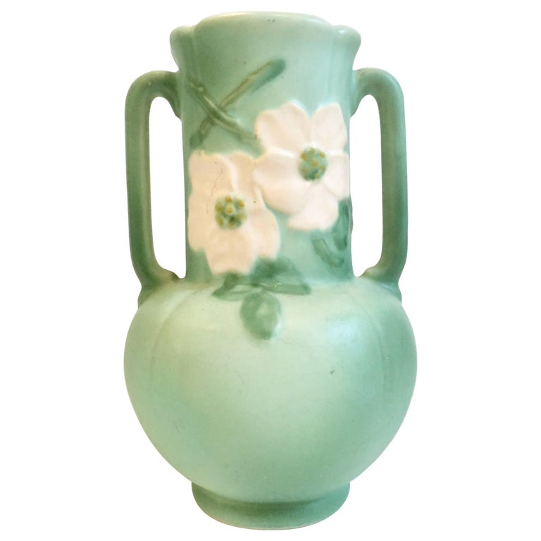 30s Art Nouveau Hand Painted Two Handle Pottery Vase By Weller